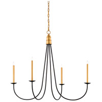 Ogden 4 Light 45 inch Chinois Antique Gold Leaf and Black Chandelier Ceiling Light