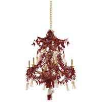 Chimera 6 Light 29 inch Coral and Pearl and Contemporary Gold Leaf Chandelier Ceiling Light