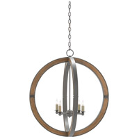 Highbank 4 Light 27 inch Hiroshi Gray and Natural Ash Chandelier Ceiling Light, Orb