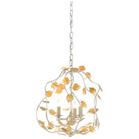 Euphorbia 3 Light 15 inch Silver Granello and Antique Gold Leaf Chandelier Ceiling Light