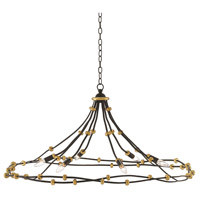 Anomaly 6 Light 45 inch Black Iron and Antique Gold Leaf Chandelier Ceiling Light