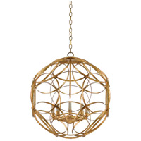 Rosine 8 Light 25 inch New Gold Leaf Chandelier Ceiling Light, Orb