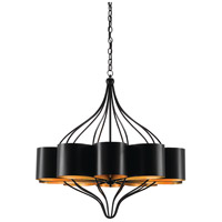 Marchfield 10 Light 39 inch Satin Black and Contemporary Gold Leaf Chandelier Ceiling Light