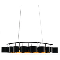 Marchfield 8 Light 63 inch Satin Black and Contemporary Gold Leaf Chandelier Ceiling Light, Rectangular