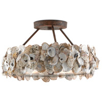 Oyster 3 Light 19 inch Textured Bronze and Natural Semi-Flush Ceiling Light