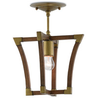 Bastian 1 Light 12 inch Chestnut and Brass Semi-Flush Ceiling Light, Petite