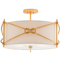 Ariadne 3 Light 23 inch Contemporary Gold Leaf Semi-Flush Ceiling Light