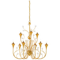 Iona 9 Light 30 inch Contemporary Gold Leaf Chandelier Ceiling Light