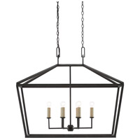 Currey & Company 9000-0289 Denison 6 Light 40 inch Molé Black and Smokewood Lantern Ceiling Light, Rectangular