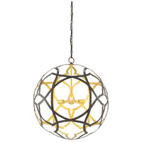 Mauresque 3 Light 23 inch Bronze Gold and Contemporary Gold Leaf Chandelier Ceiling Light, Orb