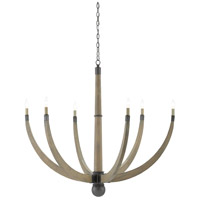 Wynter 6 Light 51 inch Washed Gray and Hiroshi Gray Chandelier Ceiling Light