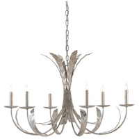 Currey & Company 9000-0300 Bette 6 Light 33 inch Silver Granello Chandelier Ceiling Light