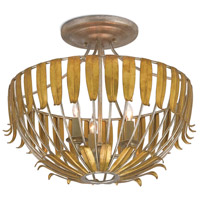Amour 3 Light 17 inch Silver Granello and Antique Gold Leaf Semi-Flush Mount Ceiling Light