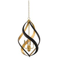 Currey & Company 9000-0321 Trephine 4 Light 23 inch Contemporary Gold Leaf and Satin Black Chandelier Ceiling Light