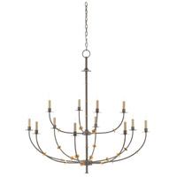 Balladier 12 Light 46 inch Hiroshi Gray and Contemporary Gold Leaf Chandelier Ceiling Light