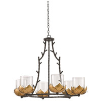 Currey & Company 9000-0337 Water-lily 6 Light 38 inch New Gold Leaf and French Black Chandelier Ceiling Light
