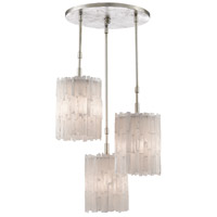 Currey & Company 9000-0345 Moonstone 3 Light 17 inch Chinois Silver Leaf Pendant Ceiling Light Trio