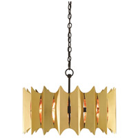 Currey & Company 9000-0350 Quill 3 Light 25 inch Black and Polished Brass Chandelier Ceiling Light