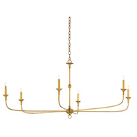 Nottaway 6 Light 61 inch Contemporary Gold Leaf Chandelier Ceiling Light