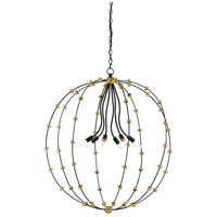 Currey & Company 9000-0387 Anomaly 6 Light 37 inch Black Iron and Antique Gold Leaf Orb Chandelier Ceiling Light Large