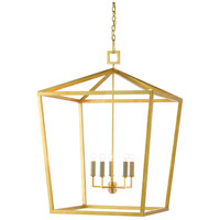 Currey & Company 9000-0404 Denison 5 Light 32 inch Contemporary Gold Leaf Lantern Pendant Ceiling Light, Large
