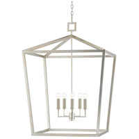 Currey & Company 9000-0414 Denison 5 Light 32 inch Contemporary Silver Leaf Lantern Pendant Ceiling Light Grande