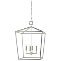 Currey & Company 9000-0415 Denison 4 Light 26 inch Contemporary Silver Leaf Lantern Pendant Ceiling Light, Small