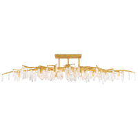 Forest 14 Light 30 inch Washed Lucerne Gold and Natural Semi-Flush Mount Ceiling Light, The Aviva Stanoff Collection