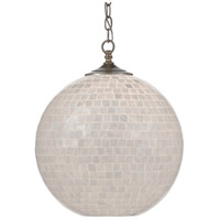 Currey & Company 9000-0435 Finhorn 1 Light 16 inch Pearl/Antique Silver Leaf Pendant Ceiling Light