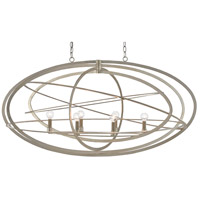 Currey & Company 9000-0443 Octavius 6 Light 23 inch Silver Leaf Linear Chandelier Ceiling Light