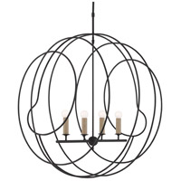 Currey & Company 9000-0448 Auden 4 Light 33 inch Antique Black Orb Chandelier Ceiling Light