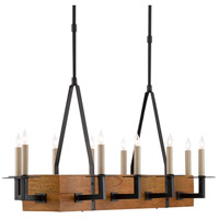 Currey & Company 9000-0454 Saratoga 10 Light 47 inch Satin Black/Natural Linear Chandelier Ceiling Light