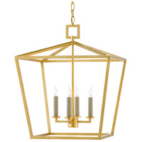 Currey & Company 9000-0457 Denison 4 Light 18 inch Contemporary Gold Leaf Lantern Pendant Ceiling Light, Medium