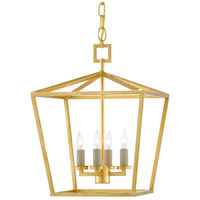 Currey & Company 9000-0458 Denison 4 Light 12 inch Contemporary Gold Leaf Lantern Pendant Ceiling Light, Small