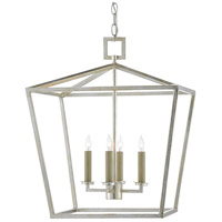 Currey & Company 9000-0459 Denison 4 Light 18 inch Contemporary Silver Leaf Lantern Pendant Ceiling Light Medium