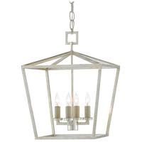 Currey & Company 9000-0460 Denison 4 Light 12 inch Contemporary Silver Leaf Lantern Pendant Ceiling Light, Small