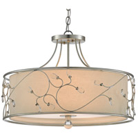 Currey & Company 9000-0465 St. Clears 3 Light 24 inch Contemporary Silver Leaf Pendant Ceiling Light Semi-Flush Convertible