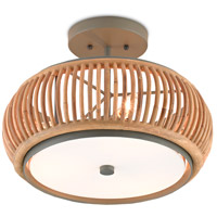 Currey & Company 9000-0468 Africa 3 Light 16 inch Hiroshi Gray/Natural Semi-Flush Mount Ceiling Light