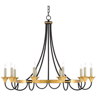 Currey & Company 9000-0474 Hanlon 8 Light 37 inch Washed Black/Contemporary Gold Leaf Chandelier Ceiling Light