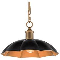 Currey & Company 9000-0475 Elias 1 Light 12 inch Black/Antique Brass Pendant Ceiling Light