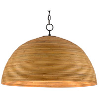 Currey & Company 9000-0478 Plantsman 1 Light 28 inch Satin Black/Natural Pendant Ceiling Light