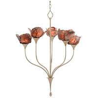 Currey & Company 9000-0479 Catrice 5 Light 27 inch Silver Leaf/Natural Chandelier Ceiling Light