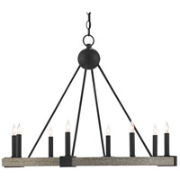 Currey & Company 9000-0480 Burgos 8 Light 32 inch Antique Black/Polished Concrete Chandelier Ceiling Light