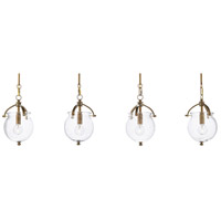 Currey & Company 9000-0487 Peele 4 Light 44 inch Antique Brass Multi-Pendant Ceiling Light