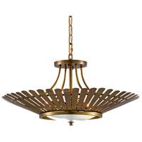 Currey & Company 9000-0494 Davina 3 Light 27 inch Vintage Brass Chandelier Ceiling Light Semi-Flush Convertible