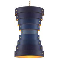 Currey & Company 9000-0499 Graduation 6 Light 20 inch Blue/Contemporary Gold Leaf/New Gold Leaf Chandelier Ceiling Light Small Hiroshi Koshitaka