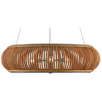 Currey & Company 9000-0501 Africa 3 Light 30 inch Natural/Hiroshi Gray Chandelier Ceiling Light