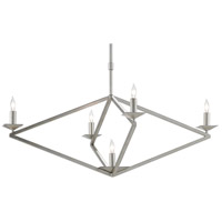 Currey & Company 9000-0503 Agassiz 5 Light 32 inch Contemporary Silver Leaf Chandelier Ceiling Light
