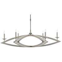 Currey & Company 9000-0505 Buteux 6 Light 42 inch Contemporary Silver Leaf Chandelier Ceiling Light
