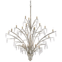 Currey & Company 9000-0508 Raux 21 Light 50 inch Contemporary Silver Leaf/Natural Chandelier Ceiling Light
